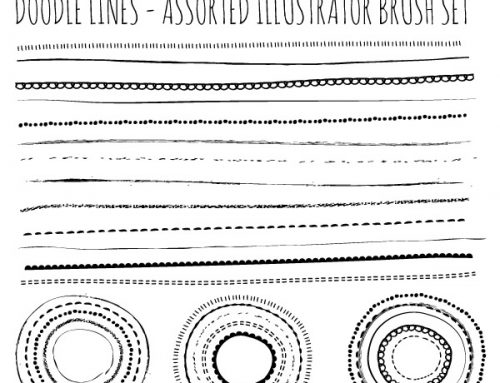 Free Illustrator Brushes – Natural Sketch Doodle Lines set