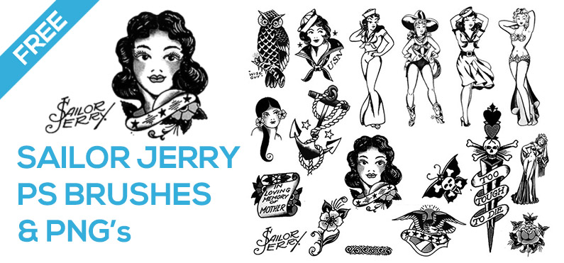 free photoshop brush set sailor jerry tattoo designs mels brushes
