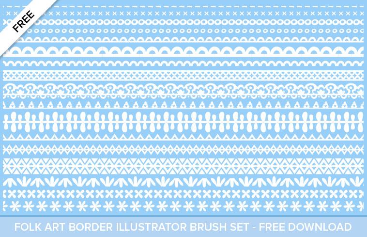 Free - Illustrator Folk Art Border Pattern Brushes - Mels