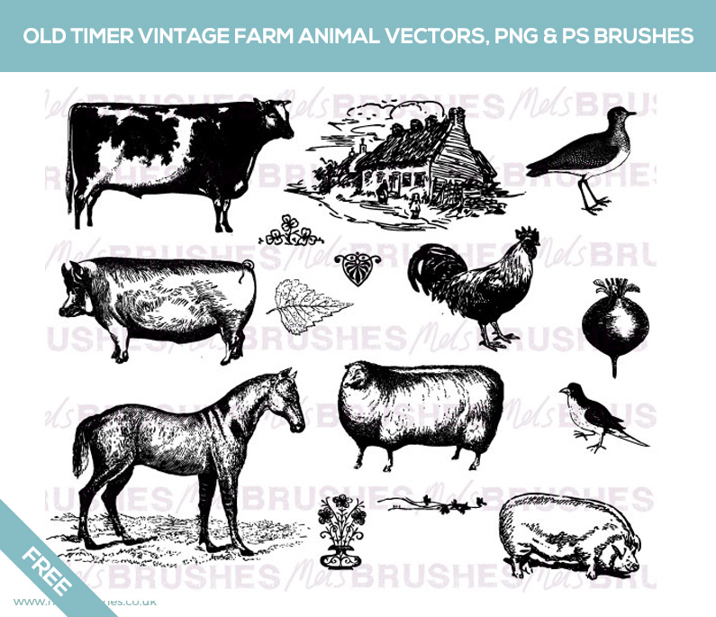 Free Old Timer Vintage Farm AnimalVectors PNG Photoshop Brushes