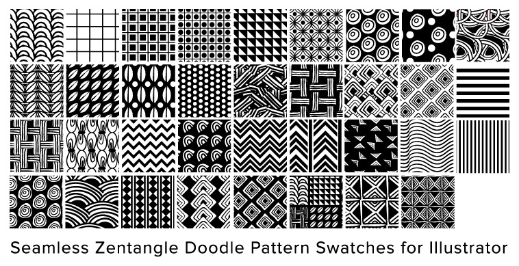 Free Illustrator Seamless Swatches Doodle Pattern Zentangle Best Zentangle Patterns
