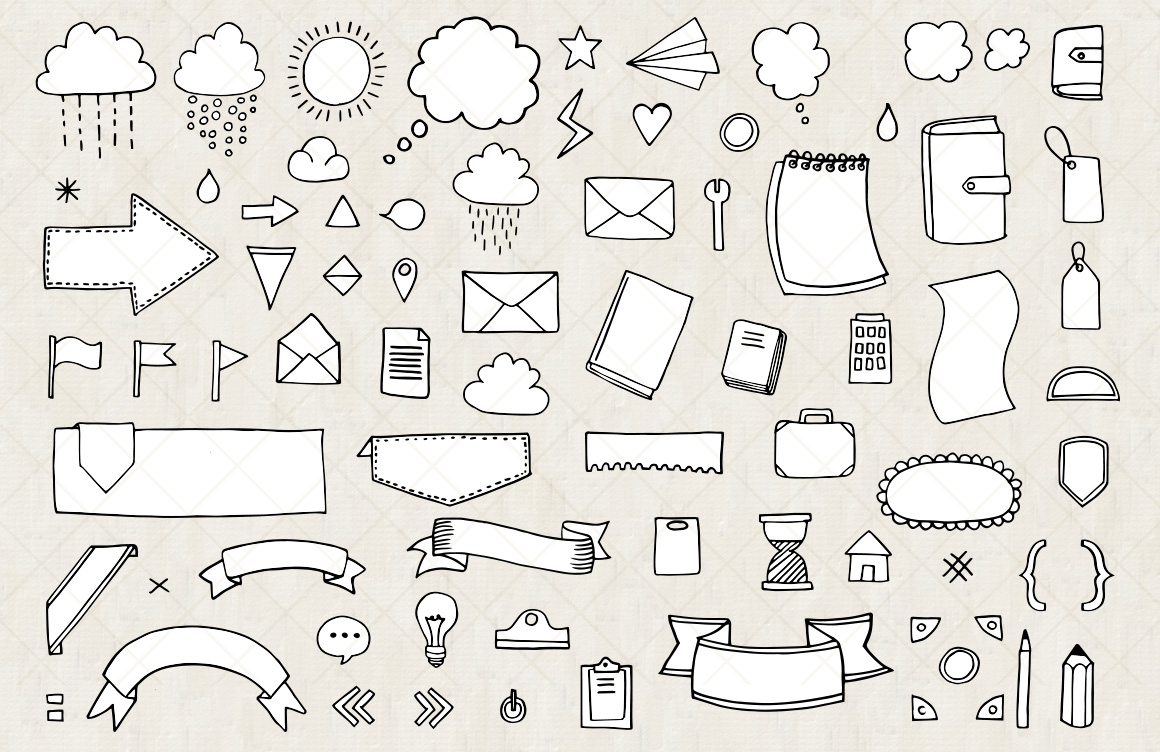 Bullet Journal and Diary Planner Vector Doodles - Mels Brushes