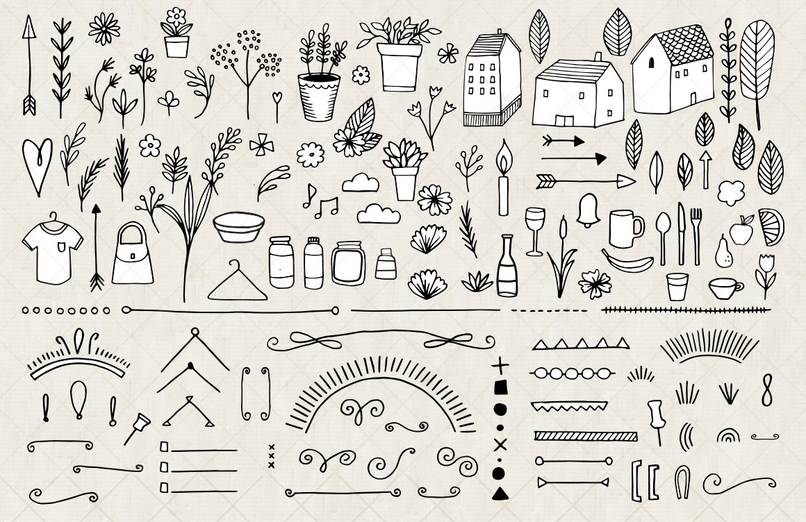 bullet journal and diary planner vector doodles