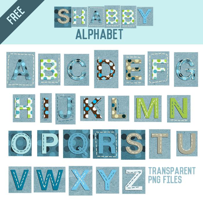 Free – Shabby Polka Dot Alphabet Scrapbook Clipart