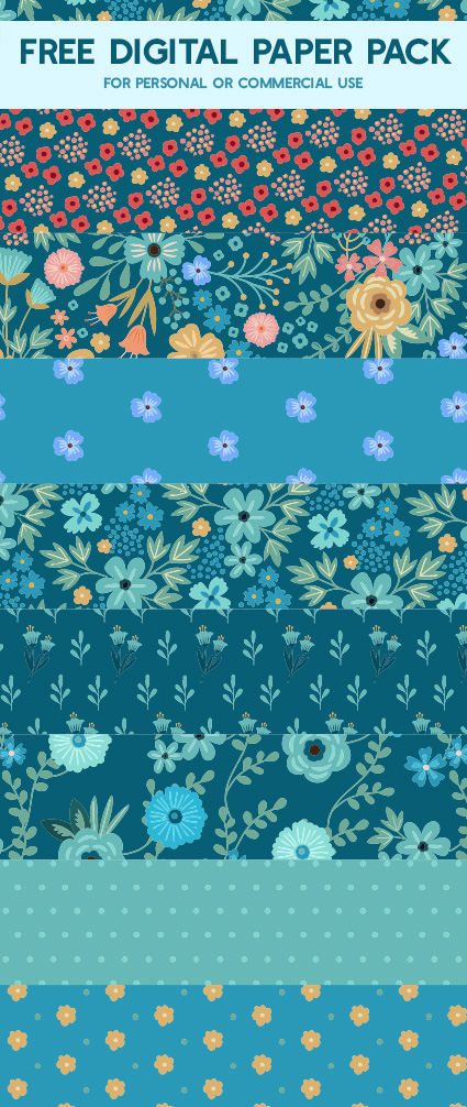 Free Floral Digital Scrapbook Paper for Commercial Use - By Mels Brushes