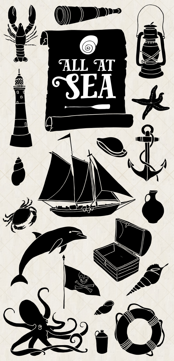 33 hand drawn ocean and nautical illustrations by Mels Brushes. Vintage style downloadable vectors, JPEGs and PNGs
