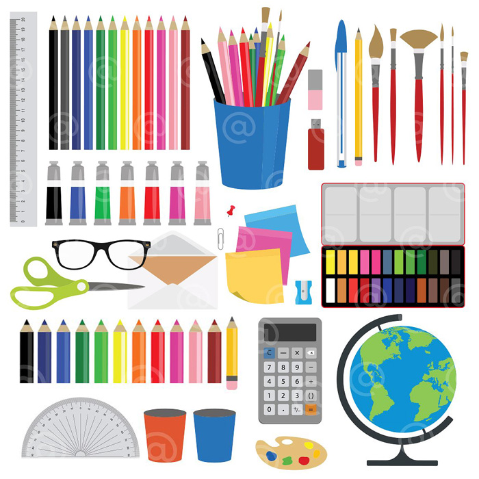 Office, Stationery And Art Supplies Clipart. ; 