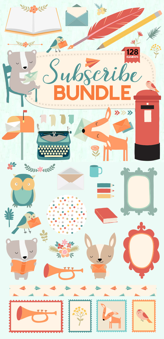 Newsletter & Mailing List Bundle - Hand drawn Vintage Vector Illustrations. A massive 128 elements in this hand drawn bundle designed for adding decoration and interest to your email newsletters and subscriber pages.