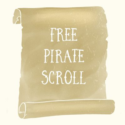 Free pirate scroll banner PNG graphic clipart