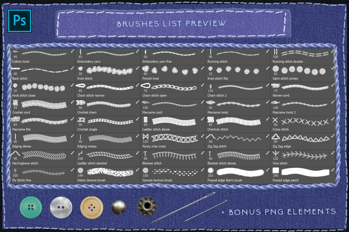 Sewing & Embroidery Photoshop Brushes Kit