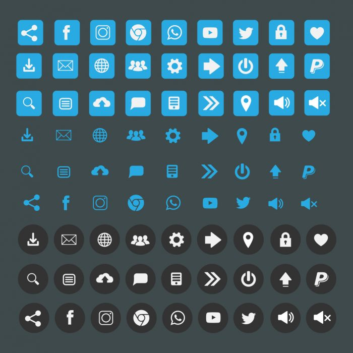 Clean flat icon set