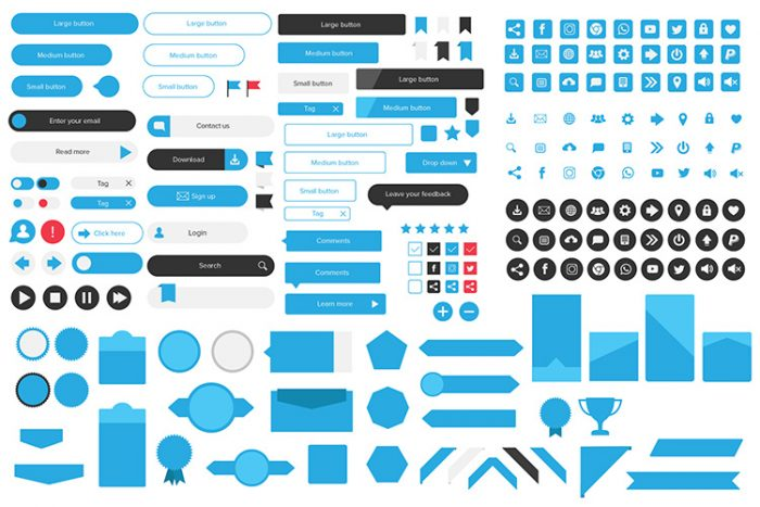 Icons set, Buttons, web UI kit
