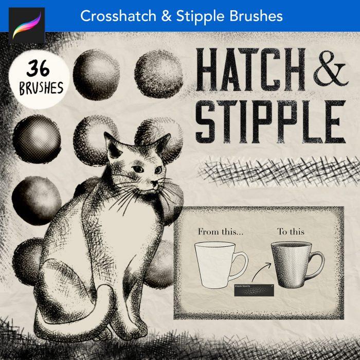 Cross hatch stipple procreate brushes