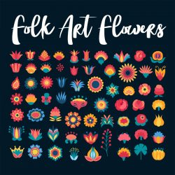 Scandinavian Folk Art Flower Illustrations