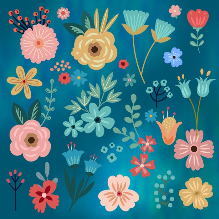 Bold New Summer Floral vcetor clipart for download, by Mels Brushes