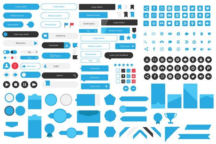 Icons set, Buttons, web UI kit
