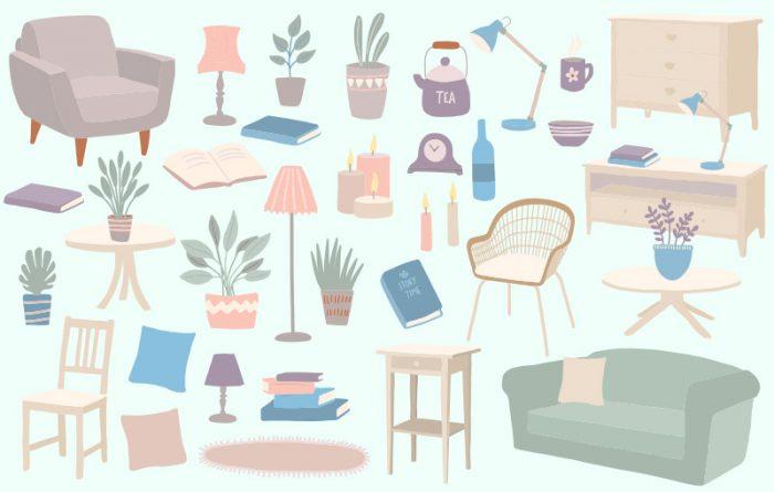 Interiors hygge vector graphics