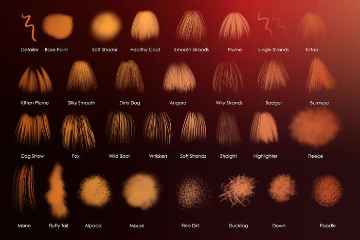 Animal Furry Hairy Procreate Brushes