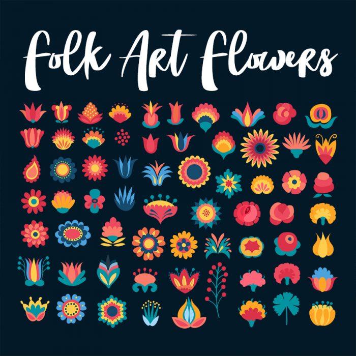 Scandinavian Folk Art Flower Illustrations